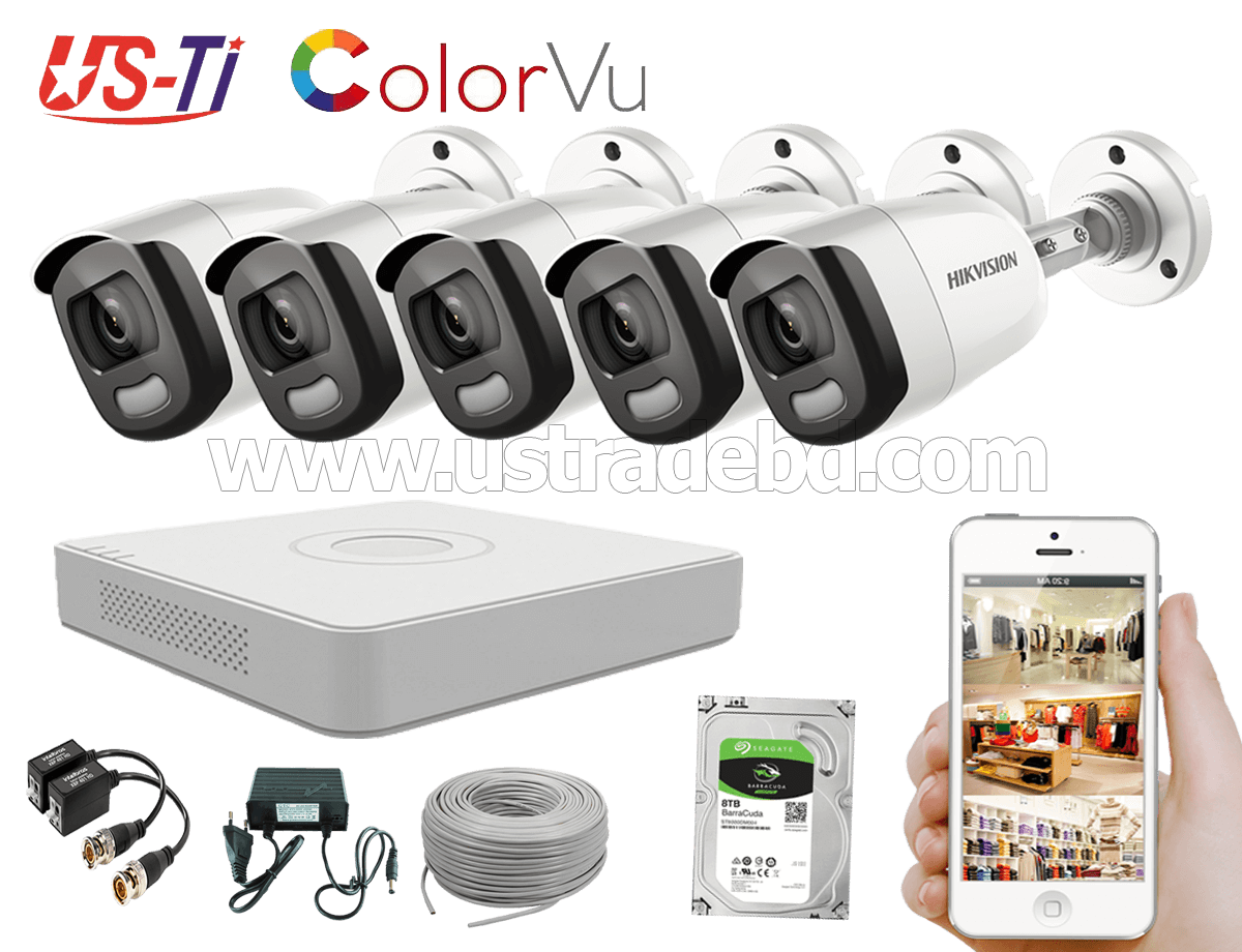 24 Hours Colour Hikvision 5pc camera Package