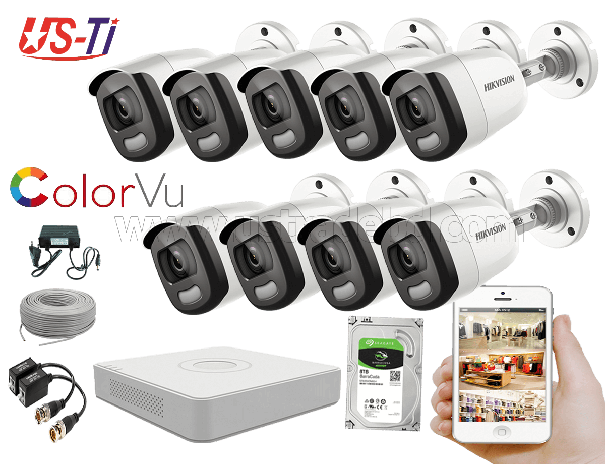 24 Hours Colour Hikvision 9pc camera Package