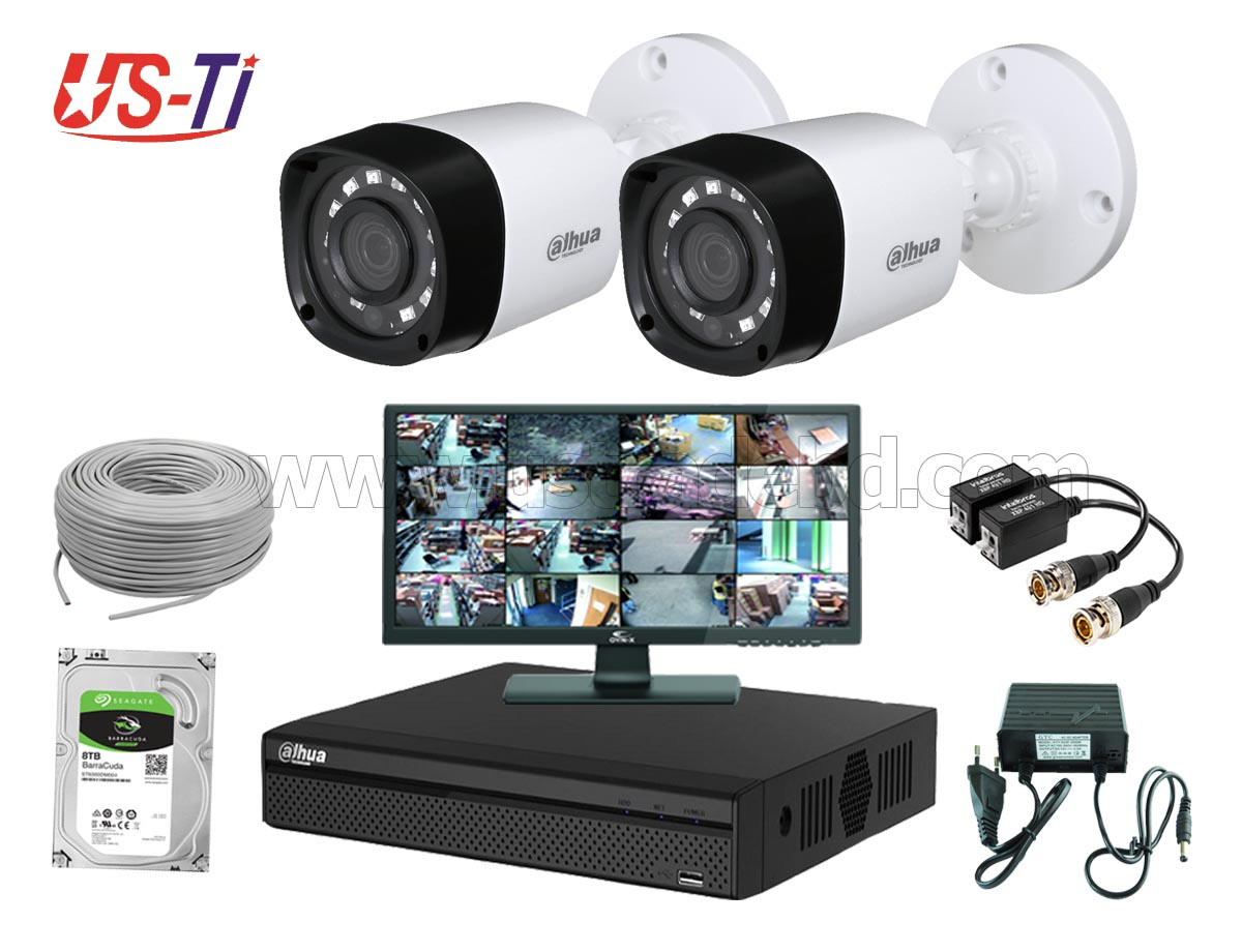 2MP Dahua 2 Unit camera CCTV Package with Monitor