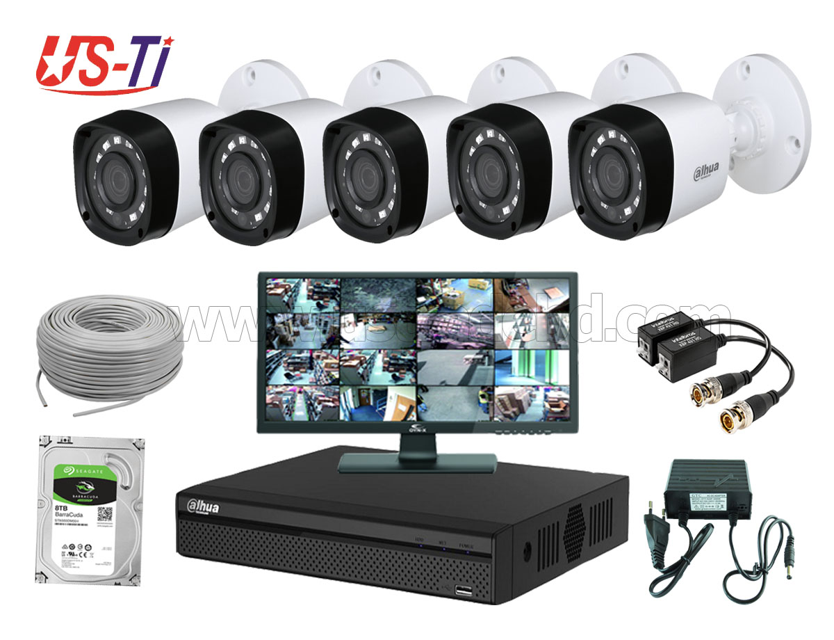 2MP Dahua 5 Unit camera CCTV Package with Monitor