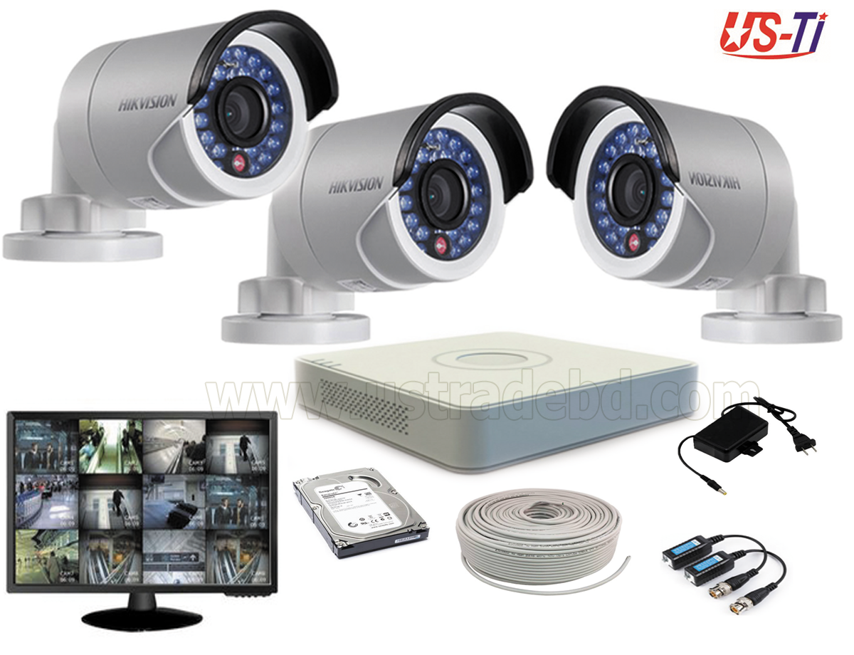 2MP Hikvision 3 Full HD CCTV Package with Monitor