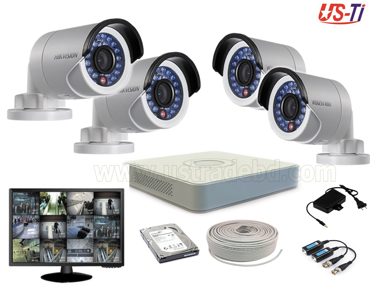 2MP Hikvision 4 Full HD CCTV Package with Monitor