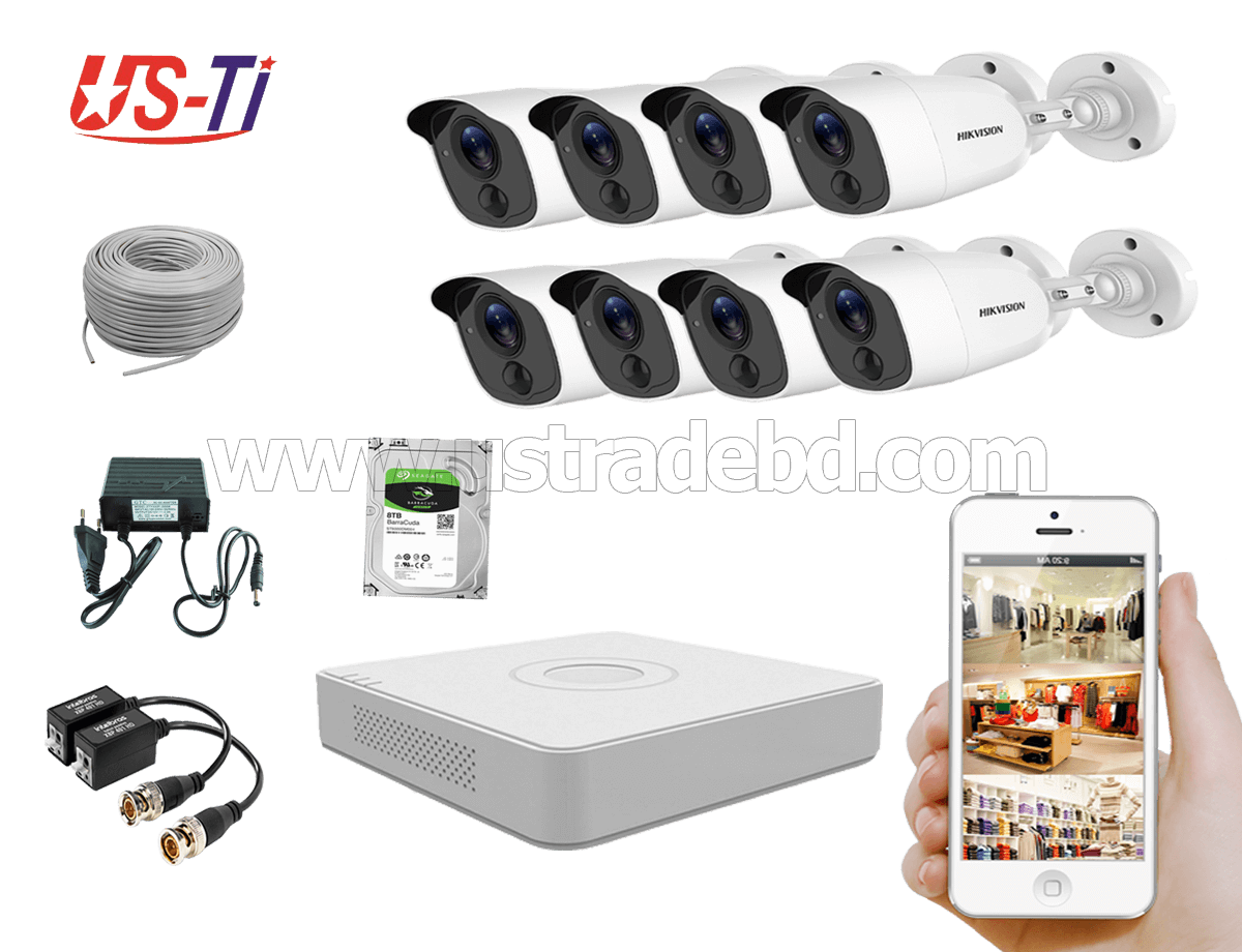2MP Hikvision 8 Full HD Flash detection camera CCTV Package