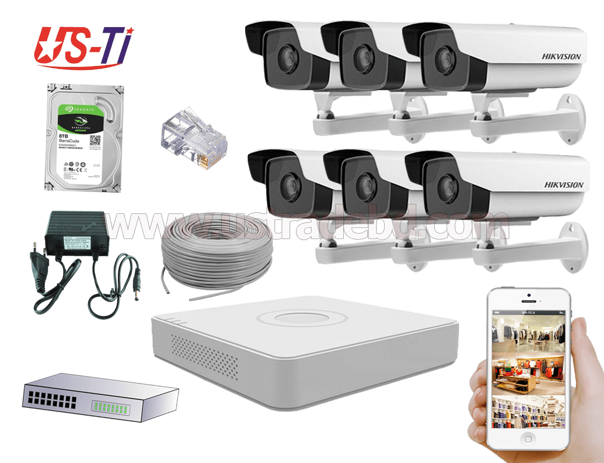 2MP IP Hikvision 6pc camera Package