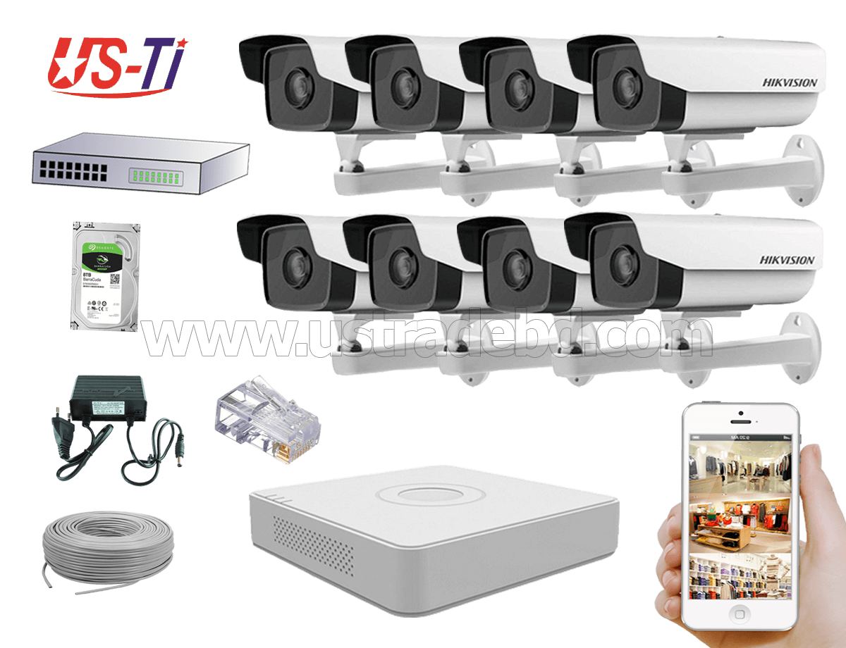 2MP IP Hikvision 8pc camera Package
