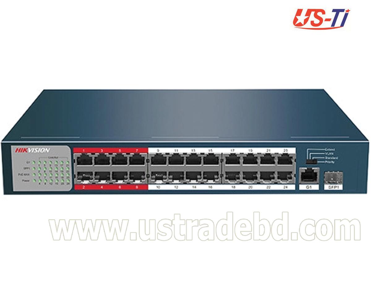 Hikvision DS-3E0326P-E(B) 24-Port 100 Mbps Long-Range Unmanaged PoE Switch