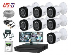 2MP Dahua 7 Unit camera CCTV Package  with Monitor