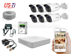 2MP Hikvision 6 Full HD Flash detection camera  CCTV Package