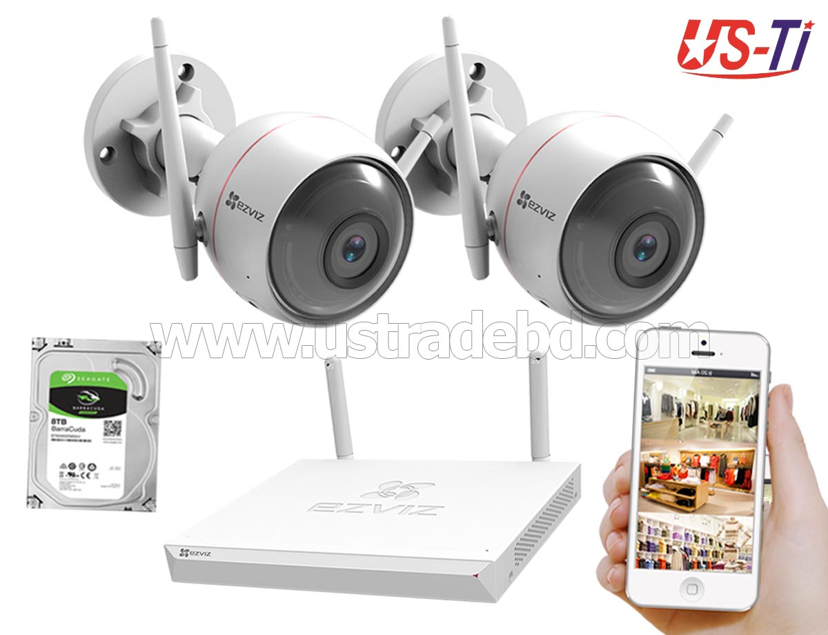 Wifi Outdoor 2pc Hikvision EZVIZ IP Camera Package