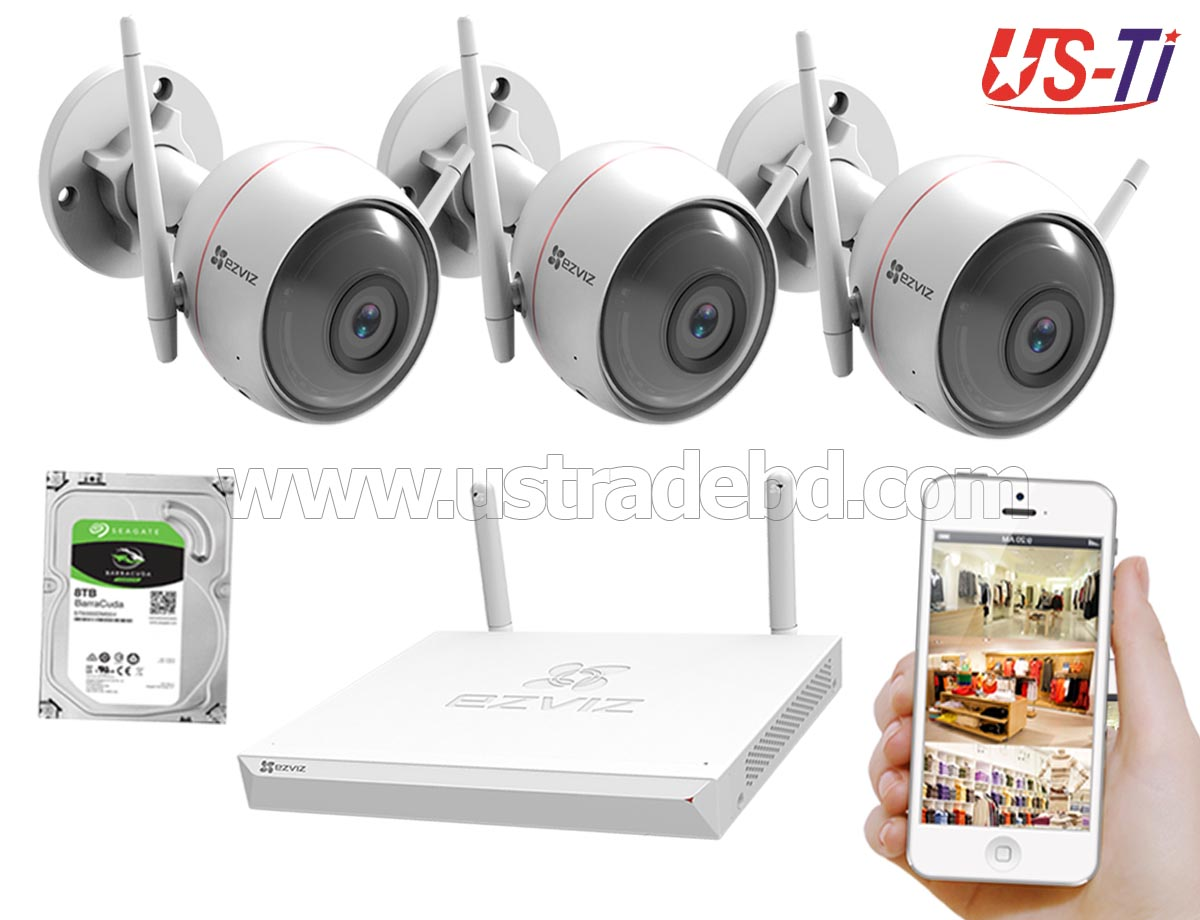 Wifi Outdoor 3pc Hikvision EZVIZ IP Camera Package