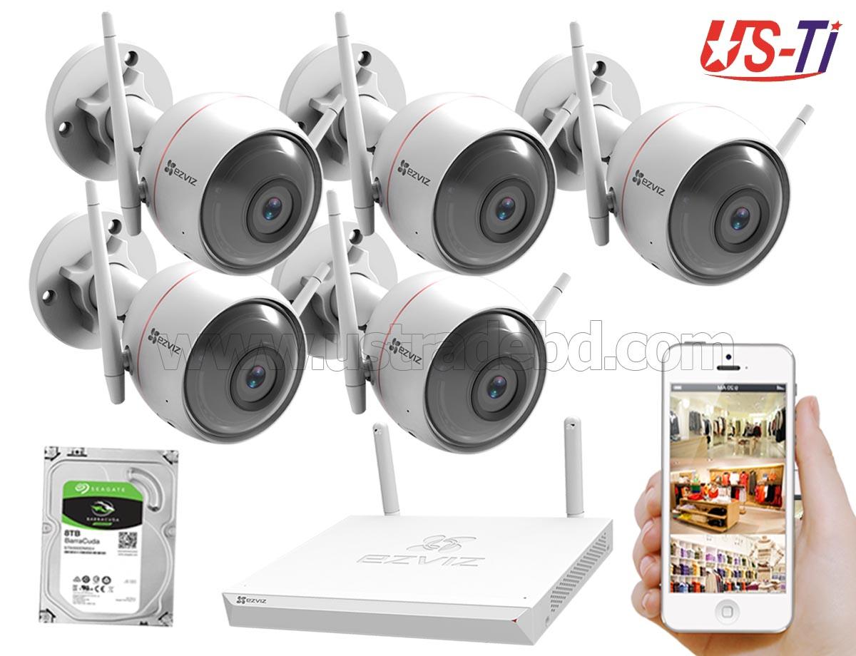 Wifi Outdoor 5pc Hikvision EZVIZ IP Camera Package