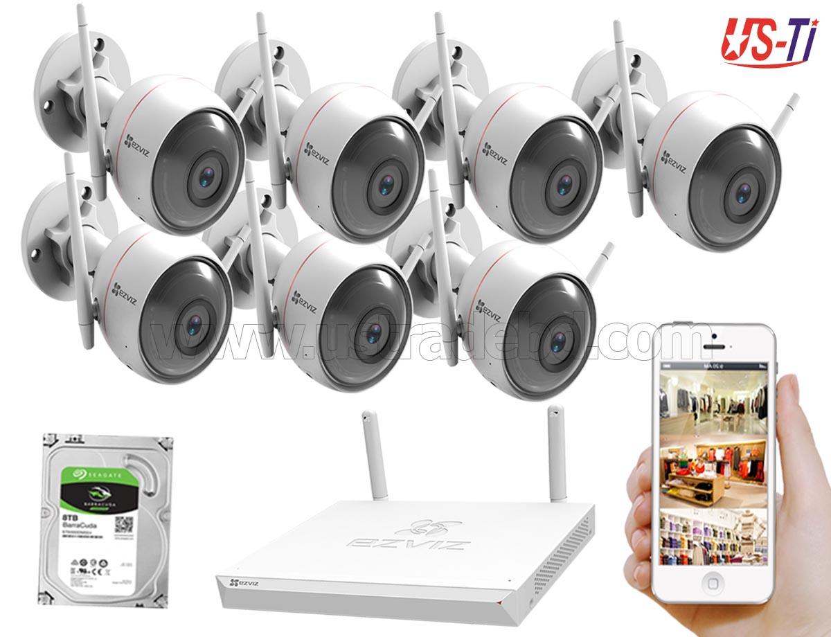Wifi Outdoor 7pc Hikvision EZVIZ IP Camera Package